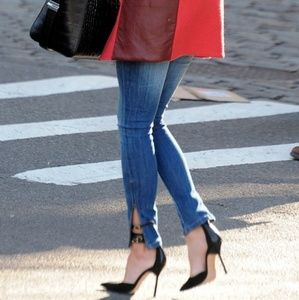B2G1 Zara Dark Wash Ankle Zip Crop Skinny Jeans